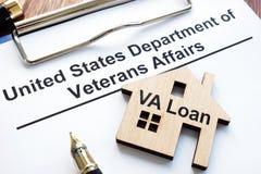 VA loan. US department of veterans affairs papers. VA loan concept. US department of veterans affairs papers stock image