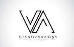 VA V een Brief Logo Design in Zwarte Kleuren vector illustratie