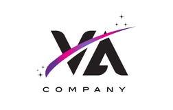 VA V een Zwarte Brief Logo Design met Purpere Magenta Swoosh vector illustratie
