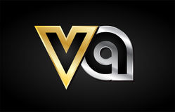 Gold silver letter joint logo icon alphabet design. VA V A gold golden silver alphabet letter metal metallic grey black white background combination join joined stock illustration