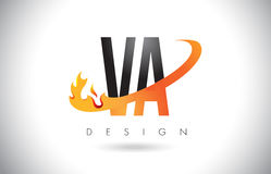 VA V A Letter Logo with Fire Flames Design and Orange Swoosh. Stock Image