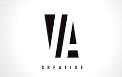 VA V une lettre blanche Logo Design avec la place noire Photographie stock