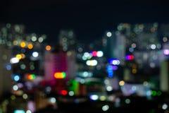 Vaag bokeh van diverse achtergrond van kleurenlichten van cityscape Stock Fotografie