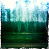 Vaag landschap dat uit snelle trein wordt genomen Royalty-vrije Stock Fotografie