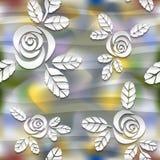 Vaag naadloos golvend patroon met rozen 3d stock illustratie