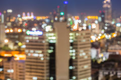 Vaag unfocused stadsmening bij nacht, Bangkok Thailand royalty-vrije stock afbeelding
