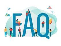 Vaak gevraagd vragenconcept Mensen met groot brievenwoord Het vlakke grafische ontwerp van het beeldverhaalkarakter Landende Pagi stock illustratie