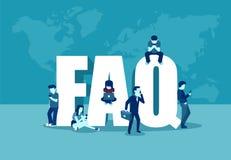 Vaak gevraagd vragenconcept Vector van mensen die zich dichtbij brieven bevinden en digitale apparaten met behulp van vector illustratie
