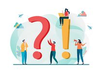 Vaak gevraagd vragenconcept Vraag- en antwoord metafoor Vector illustratieachtergrond vlak beeldverhaalkarakter stock illustratie