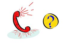 Vaak stellend vragen of hotlinepictogram met rode zaktelefoon in krabbelstijl stock illustratie