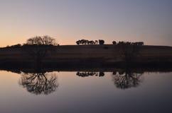 Vaalriver solnedgång Arkivbild