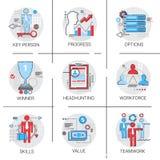 Vaardigheden de van het bedrijfs aantal arbeidskrachtenbeheer van Team Leadership Icon Set Progress het Koppensnellen stock illustratie