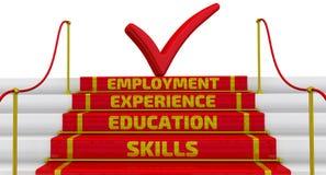 Vaardigheden, onderwijs, ervaring, werkgelegenheid De inschrijving op de stappen vector illustratie