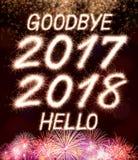 Vaarwel 2017 hello 2018 Stock Foto's