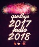 Vaarwel 2017 hello 2018 Stock Foto