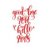 Vaarwel 2017 hello 2018 - rode hand het van letters voorzien inschrijving aan chr Stock Afbeelding