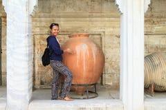 Vaas in de Archeologiemusea van Istanboel in Istanboel stock fotografie