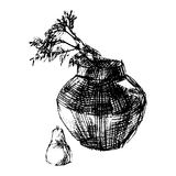 Vaas en bloemen, vectorillustratie Royalty-vrije Stock Afbeelding