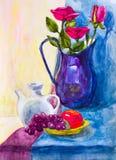 Vaas en rozen, waterverftekening Stock Afbeeldingen