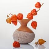 Vaas met oranje bloemen royalty-vrije stock afbeeldingen