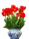 Vaas met rode Tulpen Royalty-vrije Stock Foto's