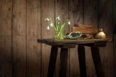 Vaas met sneeuwklokjes, boek en andere oude voorwerpen op een uitstekende sto Stock Afbeeldingen