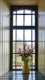 Vaas van bloemen in venster Royalty-vrije Stock Foto's
