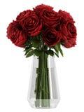 Vaas van de diepe rode rozen van Bourgondië Stock Foto