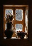 Vaas, venster, veren, stilleven royalty-vrije stock foto's