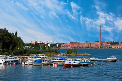 Vaasa dock and old factory royalty free stock photography