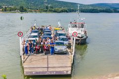 Vac, Hungary. July 16, 2017. Local ferry transportation across Danube river, Hungary. Ferry for people and cars royalty free stock photos