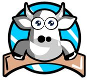 Vaca agradable de la historieta en etiqueta Imagen de archivo