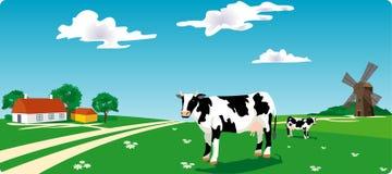 Vaca & moinho Imagem de Stock