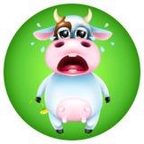 Vaca bonito dos desenhos animados que grita com flor Fotografia de Stock Royalty Free