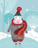 Vaca cómoda del invierno lindo stock de ilustración