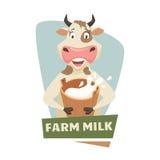 Vaca com leite Imagem de Stock