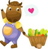 Vaca com vetor de madeira do carro Foto de Stock Royalty Free