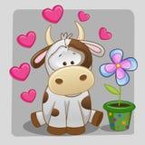 Vaca con el corazón y la flor stock de ilustración