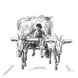 Vaca con el granjero Imagenes de archivo