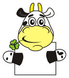 Vaca con una muestra en blanco Imagenes de archivo
