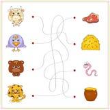 Vaca, cuervo, oso y jaguar con su comida (carne, heno, gusano y Fotografía de archivo