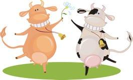 Vaca da dança dos desenhos animados Fotografia de Stock Royalty Free