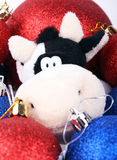 Vaca de Crismas entre as esferas 2009 Fotos de Stock