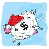Vaca de dinheiro do super-herói dos desenhos animados Foto de Stock Royalty Free
