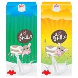 Vaca de leche que empaqueta la historieta linda Imagenes de archivo