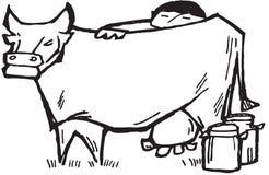 Vaca de ordenha do fazendeiro Imagem de Stock Royalty Free