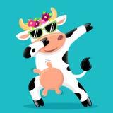 Vaca de toque ligeiro bonito nos sunglass ilustração stock