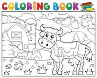 Vaca del libro de colorear cerca del tema 1 de la granja Foto de archivo libre de regalías