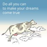 Vaca del vuelo en las nubes Foto de archivo