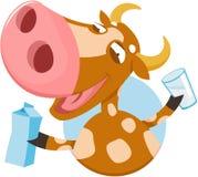 Vaca divertida con leche Imagenes de archivo